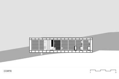 Plano de corte de pequeña casa de hormigón