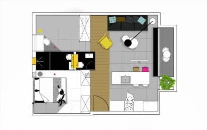 Plano de departamento de 55 metros cuadrados
