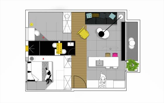 Departamentos peque os 55 metros cuadrados construye hogar for Iluminacion departamentos pequenos