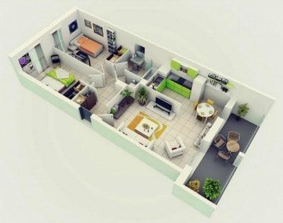 Plano de departamento de dos dormitorios 02