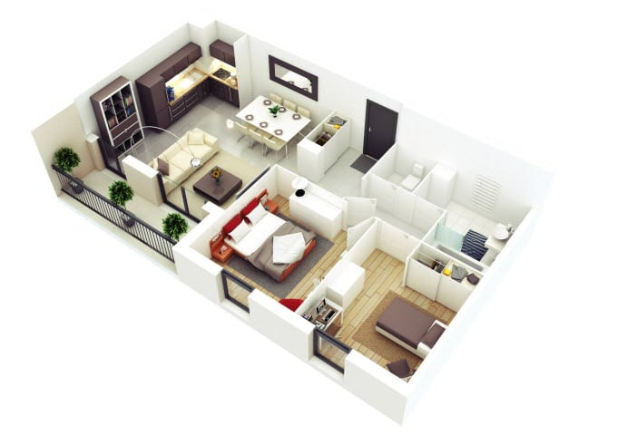 Walk In Closet Pequenos Con Baño:Planos de departamentos de dos dormitorios, selección de 50 diseños