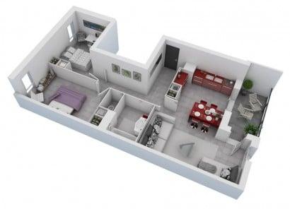 Plano de departamento de dos dormitorios 06