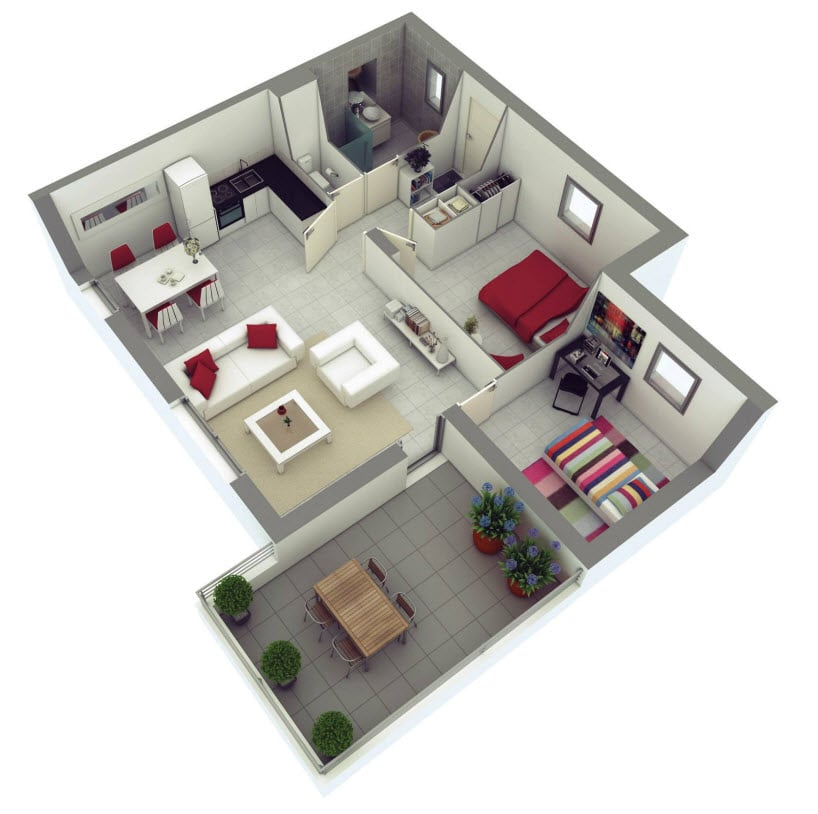 Planos de departamentos dos dormitorios construye hogar for Planos de interiores de casas