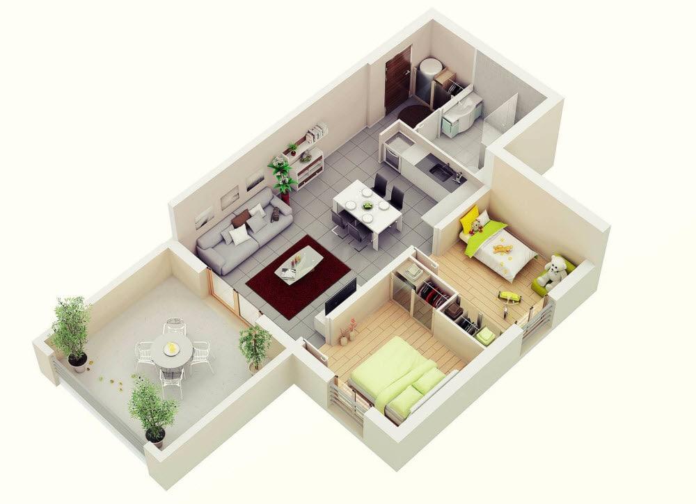 Planos de departamentos dos dormitorios construye hogar for Modelos salas para departamentos pequenos