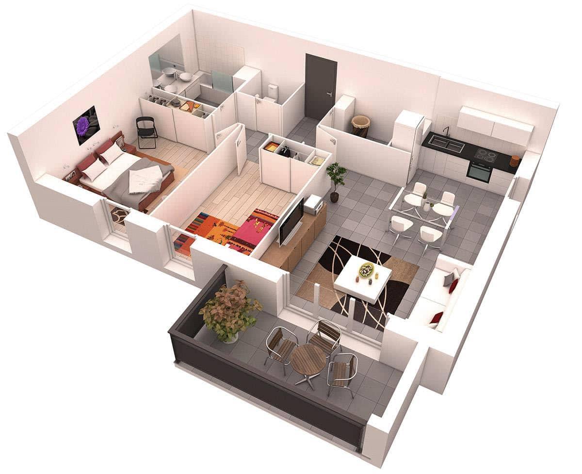 Planos de departamentos dos dormitorios construye hogar for Small apartment design 3d