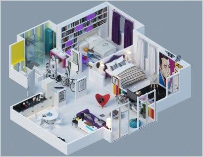 Plano de departamento de dos dormitorios 13