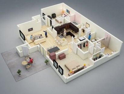 Plano de departamento de dos dormitorios 14