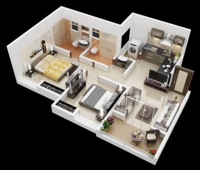 Plano de departamento de dos dormitorios 15