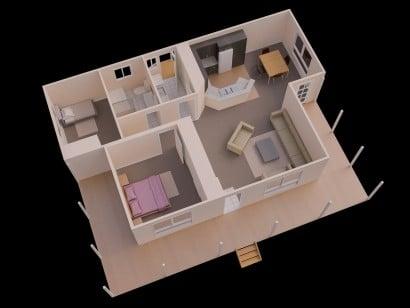 Plano de departamento de dos dormitorios 17