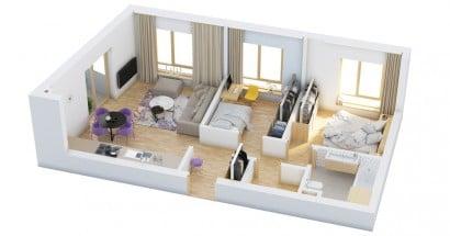 Plano de departamento de dos dormitorios 18