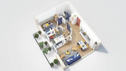 Plano de departamento de dos dormitorios 19