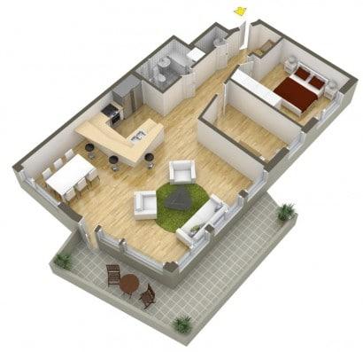 Plano de departamento de dos dormitorios 20