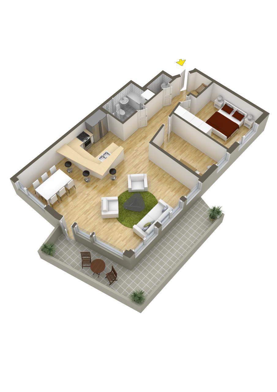 Planos de departamentos dos dormitorios construye hogar for Cocina y bano juntos