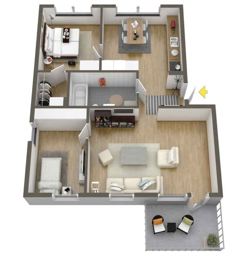Planos de departamentos dos dormitorios construye hogar for Modelos planos de casas para construir