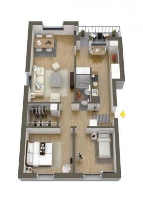 Plano de departamento de dos dormitorios 23