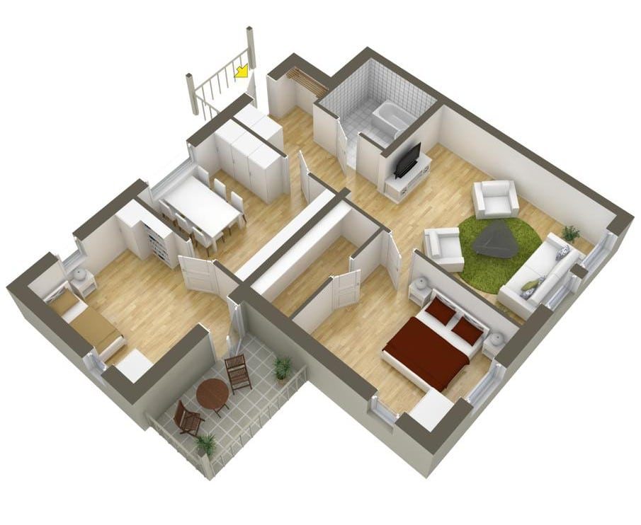 Plano de departamento de dos dormitorios 24 construye hogar for Tipos de casas para construir