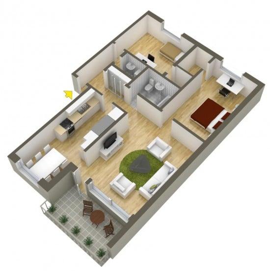 Planos de departamentos dos dormitorios construye hogar for Planos de casas 90m2