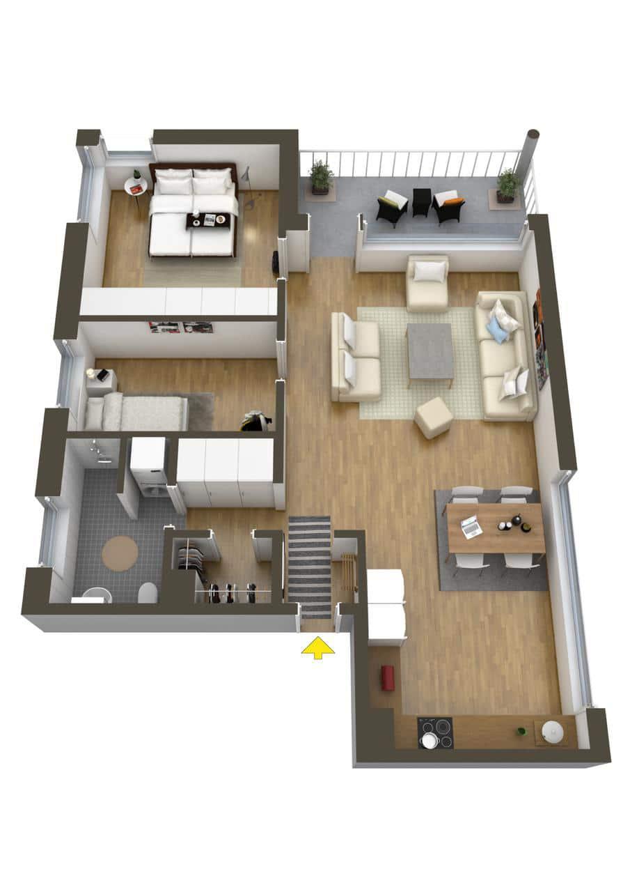 Planos de departamentos dos dormitorios construye hogar for Plano de pieza cocina y bano