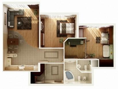 Plano de departamento de dos dormitorios 28