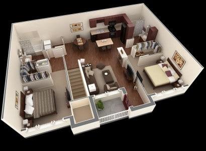Plano de departamento de dos dormitorios 31