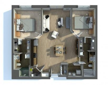 Plano de departamento de dos dormitorios 32