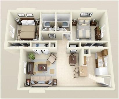 Plano de departamento de dos dormitorios 35