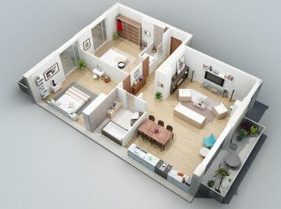 Plano de departamento de dos dormitorios 37