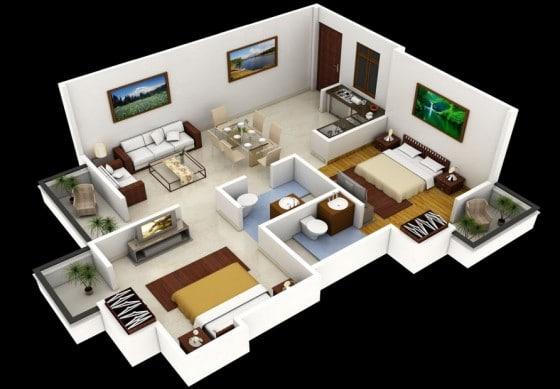 Planos de departamentos dos dormitorios construye hogar for Distribucion departamentos modernos