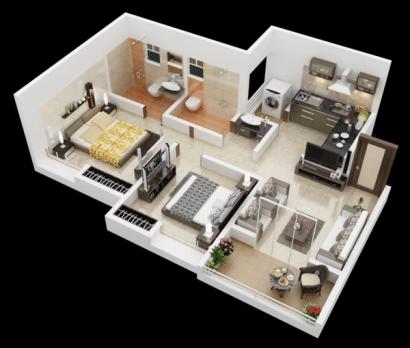 Plano de departamento de dos dormitorios 44