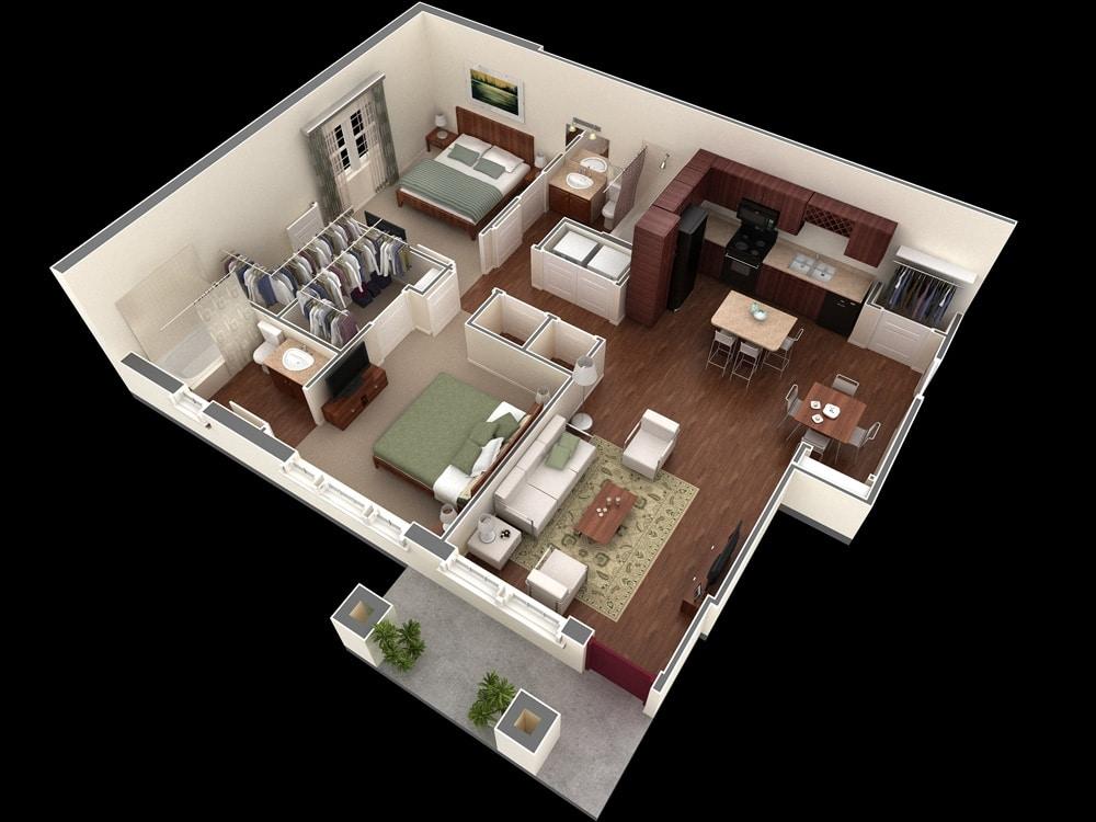 Walk In Closet Pequenos Con Baño:2 Bedroom Apartment Floor Plans 3D