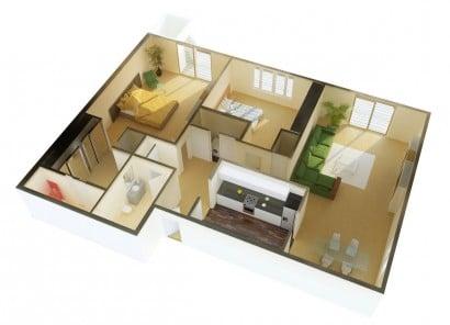 Plano de departamento de dos dormitorios 50