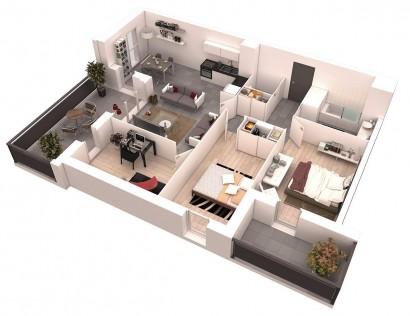 Plano de departamento de dos dormitorios 51