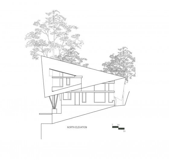 Plano de elevación Norte casa de campo