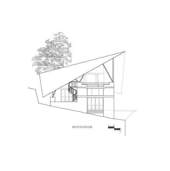 Plano de elevación Sur casa de campo