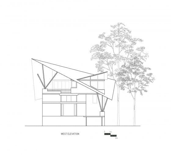 Plano de elevación Oeste casa de campo