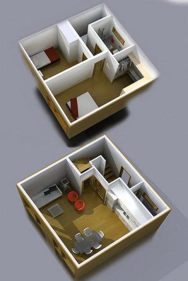 Planos 3D de casa muy pequeña de dos pisos