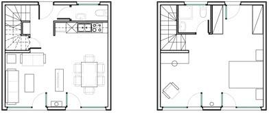 Planos de casas de dos pisos muy pequeñas un dormitorio