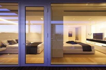 Vistas de dormitorios desde terraza exterior