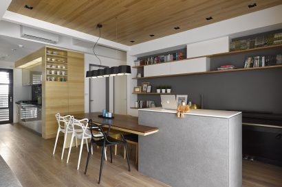 Diseño de cocina comedor moderno departamento
