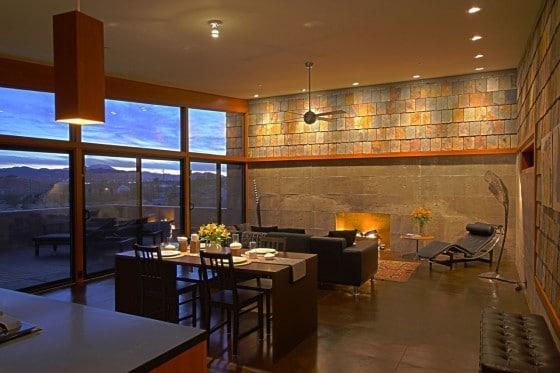 Diseño de interiores de sala rústico moderno