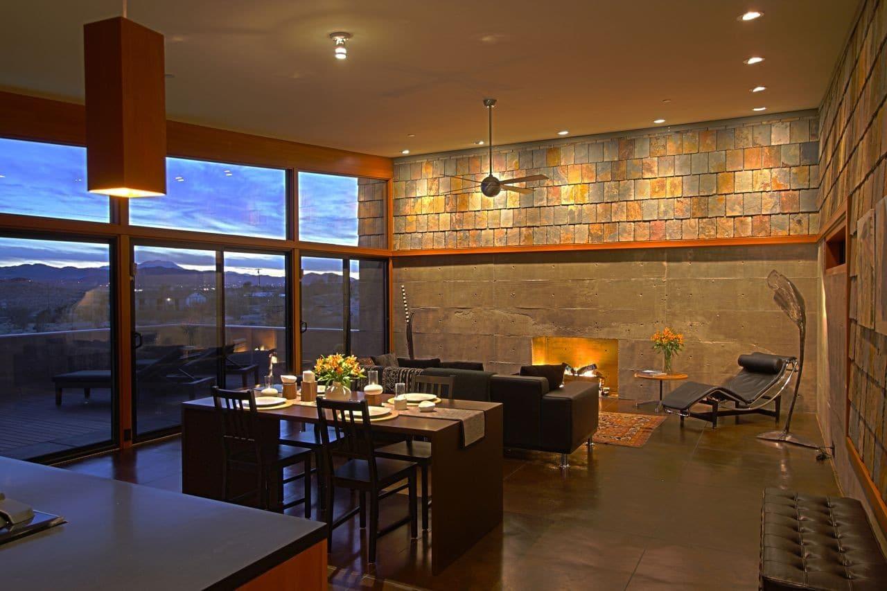 Hermosa casa rural de un piso con planos construye hogar - Interiores de piedra ...