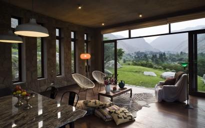 Diseño de sala casa campo rústica