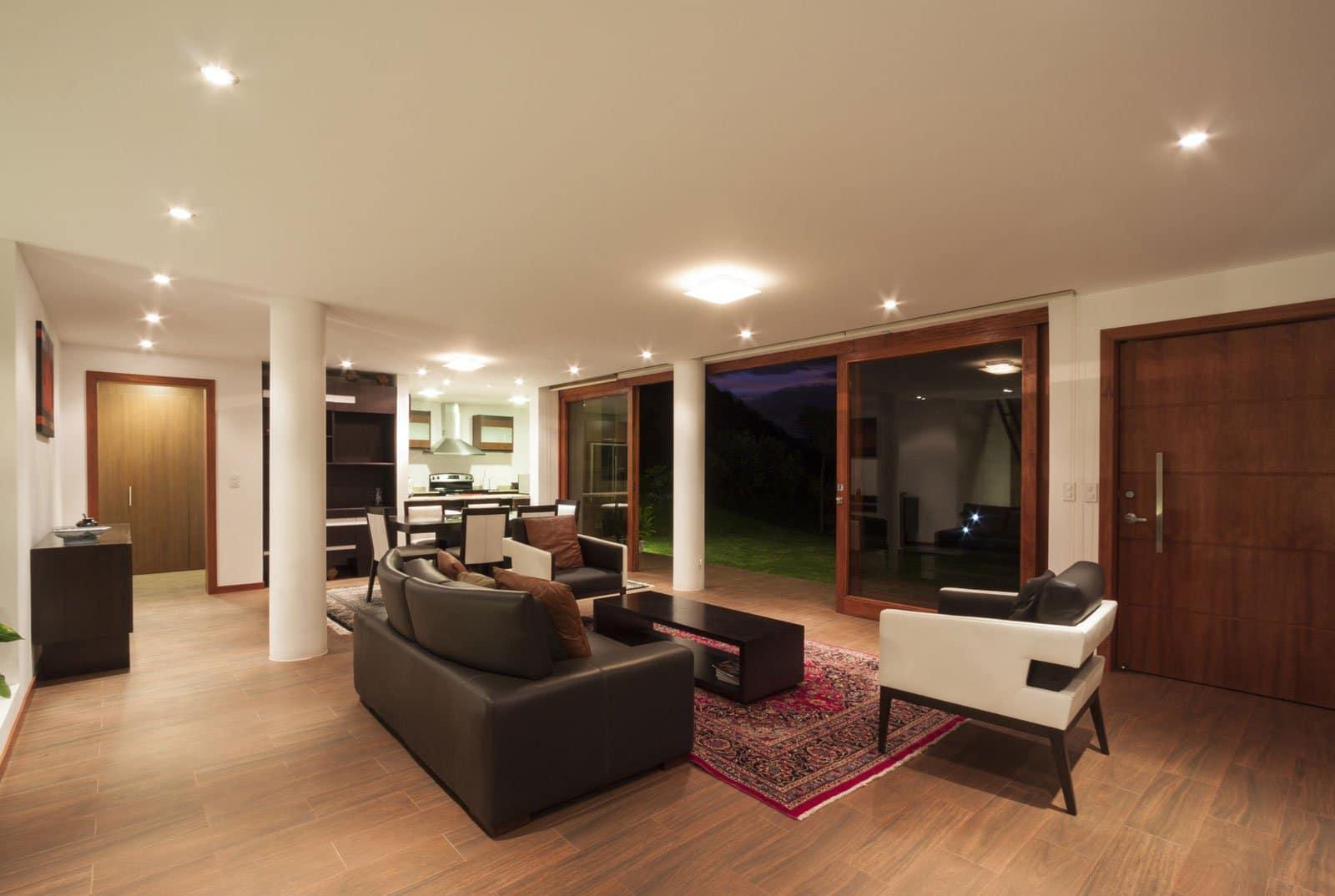 diseo de interiores de la moderna casa de una planta