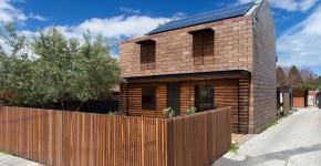 Fachada bloques de madera