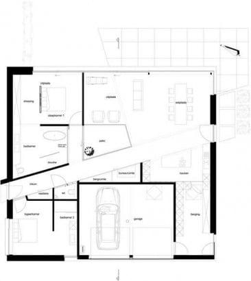 Plano de casa de un piso construido en terreno cuadrado