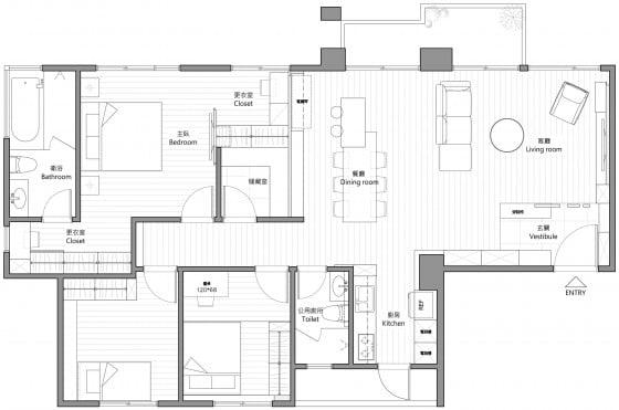 Plano de departamento de tres dormitorios