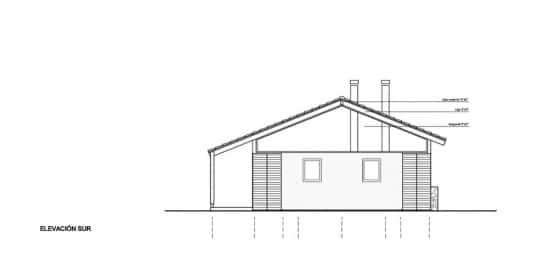 Plano de elevación Sur casa de una planta
