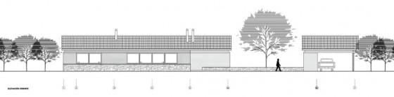 Plano de elevación Oriente casa de campo