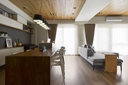 Vista de sala comedor apartamento moderno