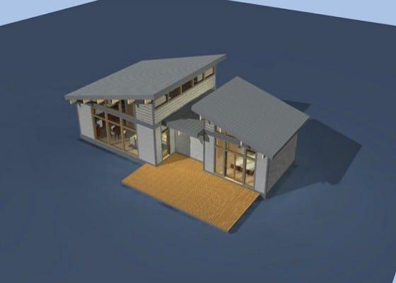 Maqueta casa de campo con techo a dos aguas